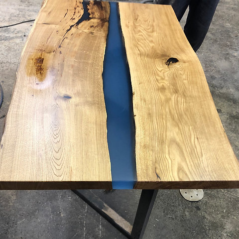 Live Edge Epoxy Resin Oak Table Uniquerust