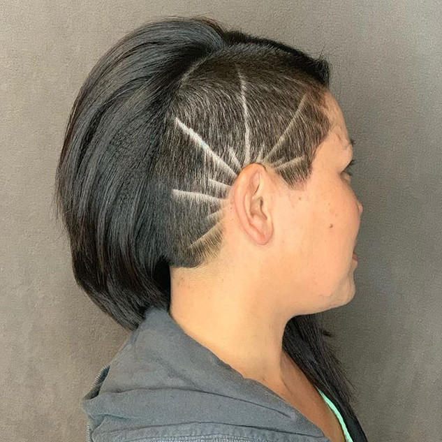 Sun inspired side shave design on this r