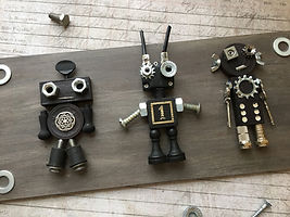 Found Object Robots Wall Hanging, Trilby