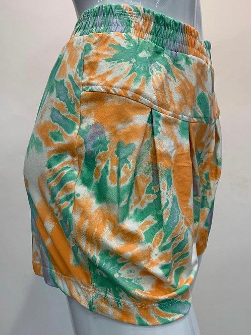 Shorts Tie Day com pregas