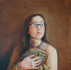 Self Portrait With Iguana