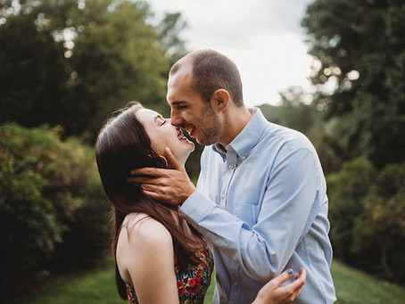 Evening engagement session at Connecticut College with Julia + Haris