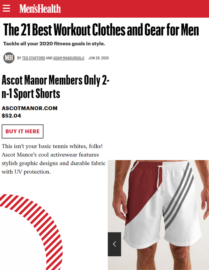 Men's Health Magazine-Ascot Manor One Of The 21 Best Workout Clothes For Men