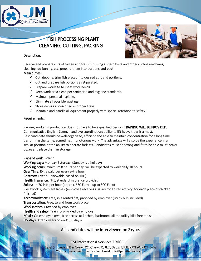 FISH PROCESSING PLANT_CLEANING, CUTTING,