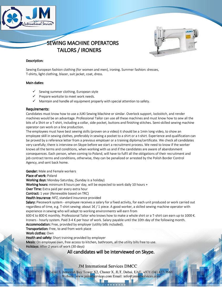 SEWING MACHINE OPERATORS _Poland_JMIS.jp