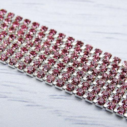 ЦС006СЦ2 Стразовые цепочки (серебро), цвет: Розовый, размер: 2 мм, 30 см/упак.