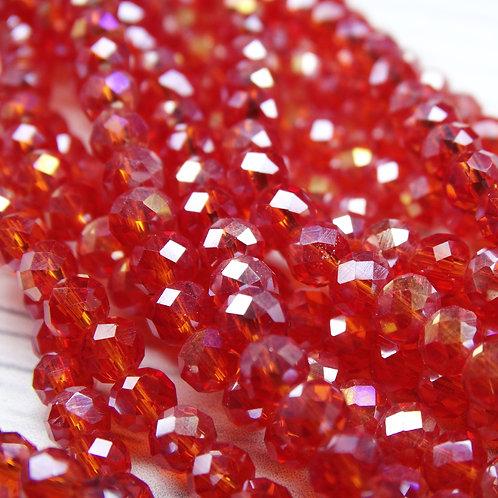 БП008ДС34 Хрустальные бусины, цвет: ярко-красный (с покрытием), размер: 3х4 мм.