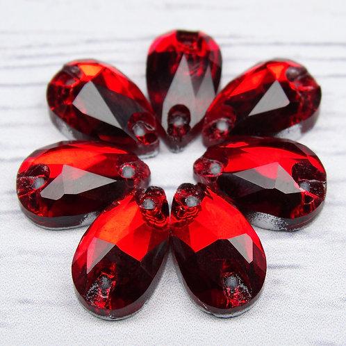 """ХК006НН712 Хрустальные стразы формы """"капля"""", цвет: красный, 7х12 мм, 1 шт."""