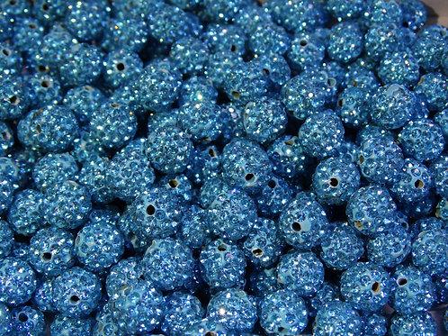 ДШ003НН10 Бусины из полимерной глины и страз, цвет: голубой, размер 10 мм, 1 шт.