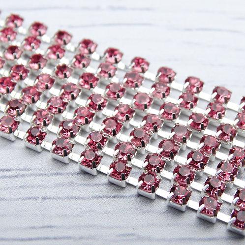 ЦС006СЦ3 Стразовые цепочки (серебро), цвет: Розовый, размер: 3 мм, 30 см/упак.