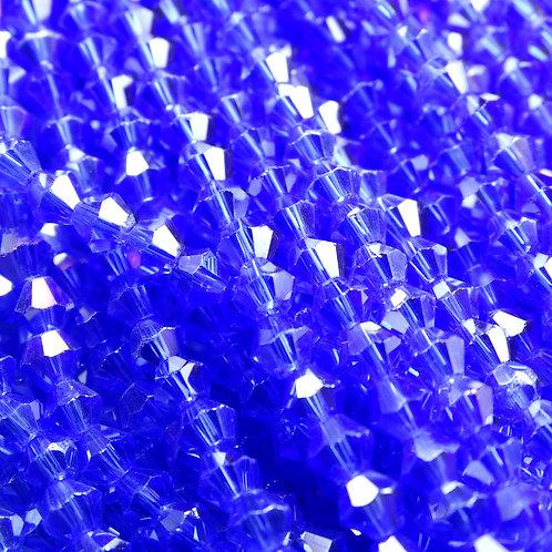 """ББ018ДС4 Хрустальные бусины """"биконус"""", светло-синий (с покрытием), 4 мм"""