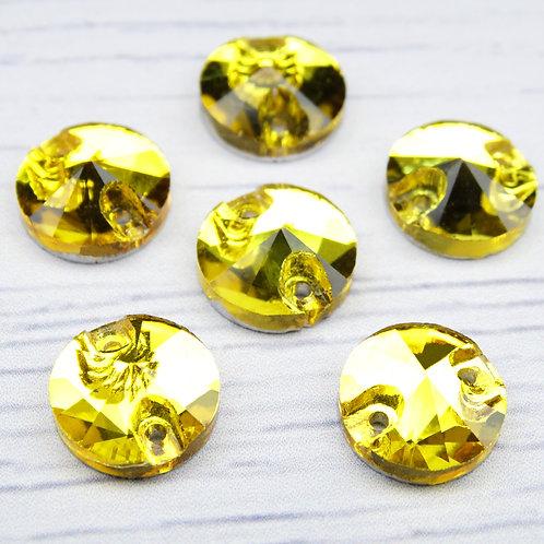 РИ002НН10 Хрустальные стразы (круглые) пришивные, цвет: желтый, 10 мм, 1 шт.