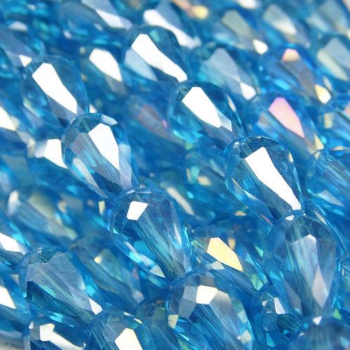 БК009ДС118 Хрустальные бусины-капли, голубой (с покрытием), 8х11 мм, 10 шт.