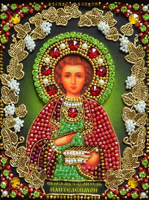 Ткань с нанесенной авторской схемой Образ Святого Целителя Пантелеймона
