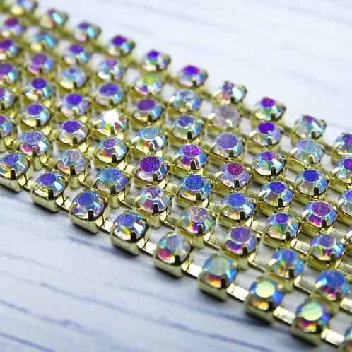 ЦС002ЗЦ3 Стразовые цепочки (золото), цвет: Белый АБ, размер: 3 мм, 30 см/упак.
