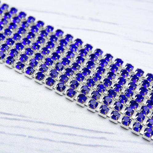 ЦС005СЦ2 Стразовые цепочки (серебро), цвет: Сапфир, размер: 2 мм, 30 см/упак.