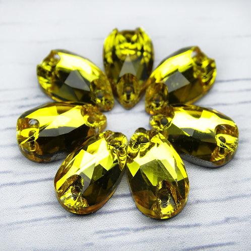 """ХК004НН712 Хрустальные стразы формы """"капля"""", цвет: желтый, 7х12 мм, 1 шт."""
