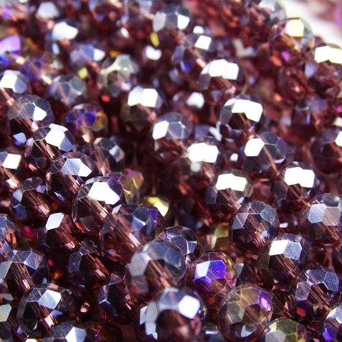 БП011ДС46 Хрустальные бусины, цвет: бургунди (с покрытием), размер: 4х6 мм