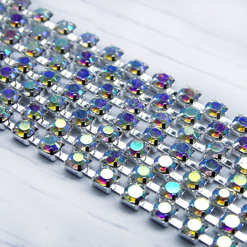 ЦС002СЦ3 Стразовые цепочки (серебро), цвет: Белый АБ, размер: 3 мм, 30 см/упак.