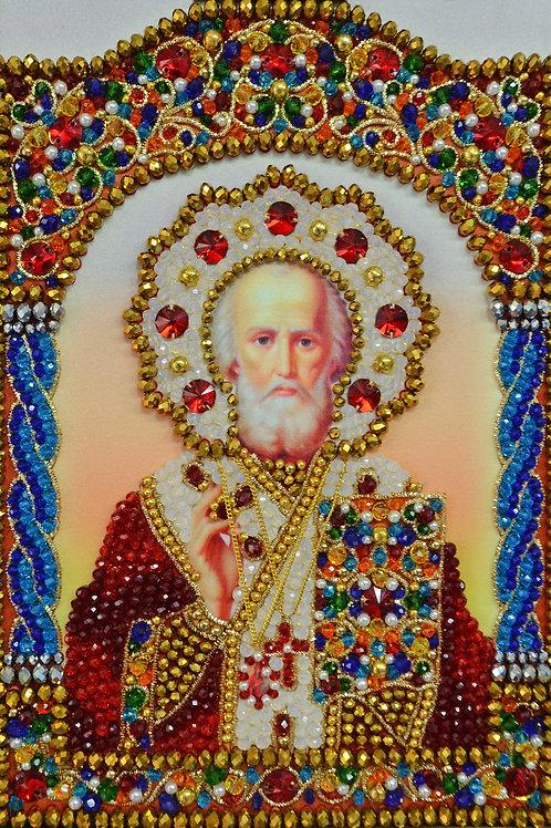 """Набор для вышивания хрустальными камнями Образ Святого Николая """"Чудотворца"""""""