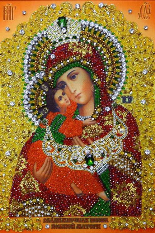 Ткань с нанесенной авторской схемой Образ Божьей Матери Владимирская
