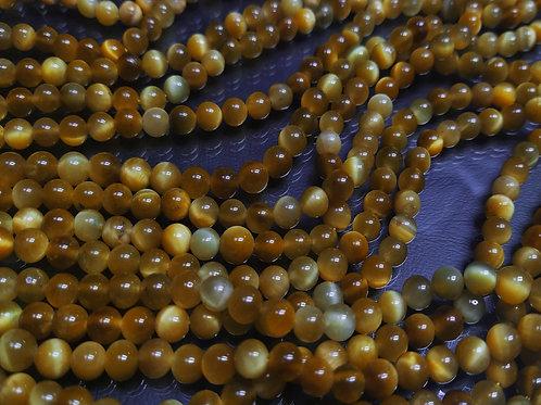 ПК015НН6 Бусины из природного камня тигровый глаз, размер: 6 мм, 1 шт.