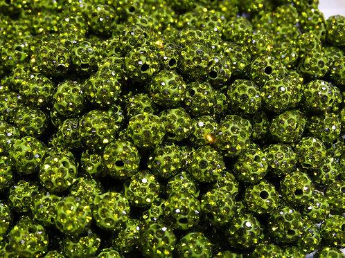 ДШ011НН10 Бусины из полимерной глины и страз, цвет: салатовый, 10 мм, 1 шт.