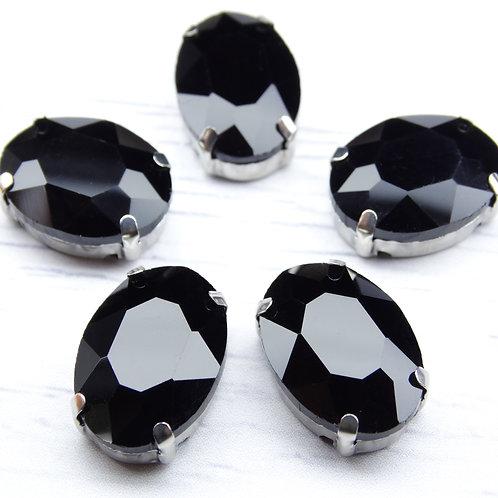 ОЦ012НН1318 Хрустальные стразы в цапах овальные, цвет: черный, 13х18 мм, 1 шт.