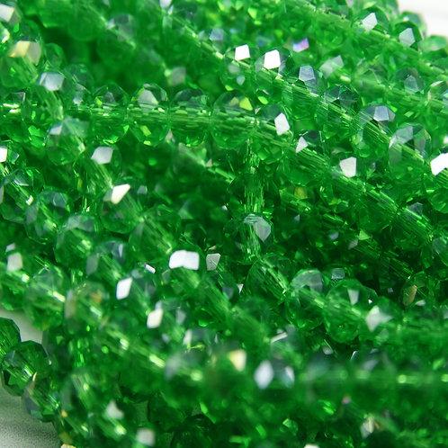 БП021ДС23 Хрустальные бусины, цвет: зеленый (с покрытием), размер: 2х3 мм.