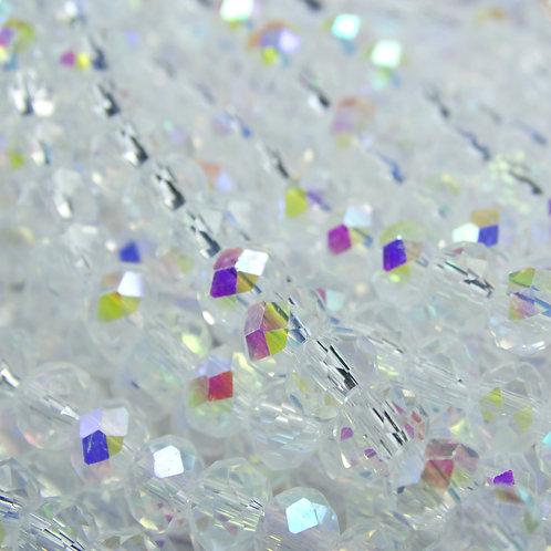 БП001ДН46 Хрустальные бусины, цвет: белый (с покрытием), размер: 4х6 мм.