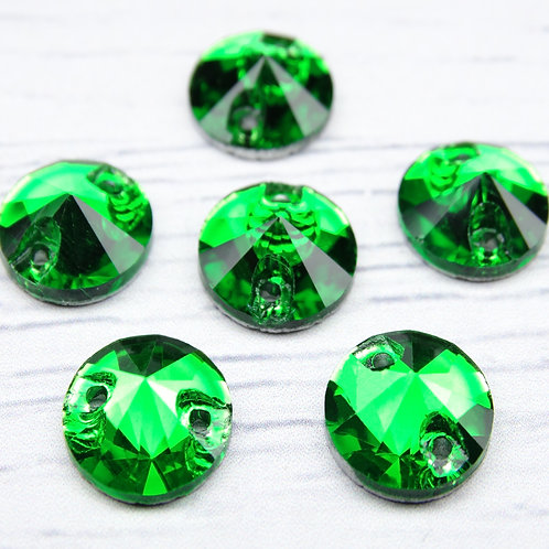 РИ003НН10 Хрустальные стразы (круглые) пришивные, цвет: зеленый, 10 мм, 1 шт.