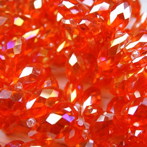 БК003ДС612 Хрустальные бусины-капли, оранжевый (с покрытием),  6х12 мм, 10 шт.