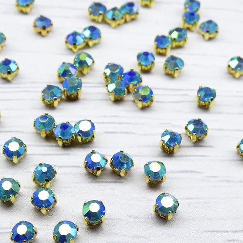 ЗЦ004ДС44 Хрустальные стразы в цапах, Голубой с покрытием (золото) 4 мм