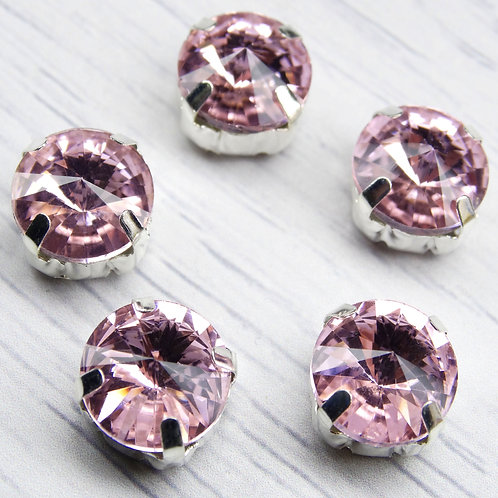 РЦ010НН12 Хрустальные стразы в цапах круглые, цвет: розовый, 12 мм, 1 шт.