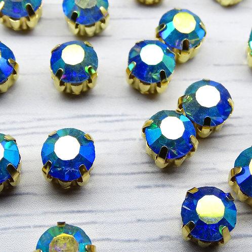 ЗЦ006ДС88 Хрустальные стразы в цапах, Светло-синий с покрытием (золото) 8 мм