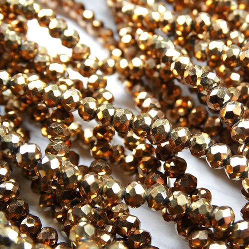 БЛ003НН23 Хрустальные бусины, цвет: коричневый (металлик), размер: 2х3 мм.