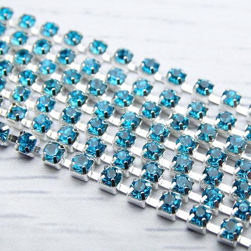 ЦС003СЦ3 Стразовые цепочки (серебро), цвет: Голубой, размер: 3 мм, 30 см/упак.