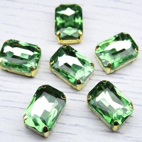 ПЦ006НН1014 Хрустальные стразы в цапах, цвет: светло-зеленый, 10х14 мм, 1 шт.