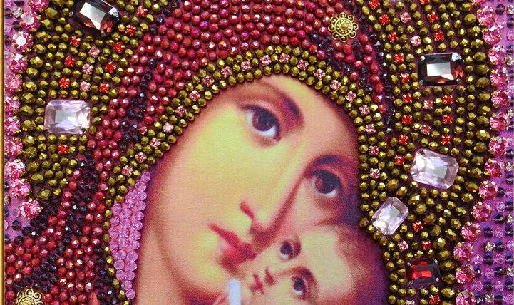 """Набор для вышивания хрустальными камнями Образ Божьей Матери """"Касперовская"""""""