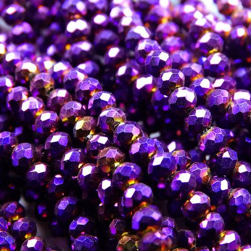 БЛ005НН23 Хрустальные бусины, цвет: фиолетовый (металлик), размер: 2х3 мм.