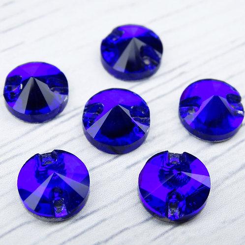 РИ006НН10 Хрустальные стразы (круглые) пришивные, цвет: синий, 10 мм, 1 шт.