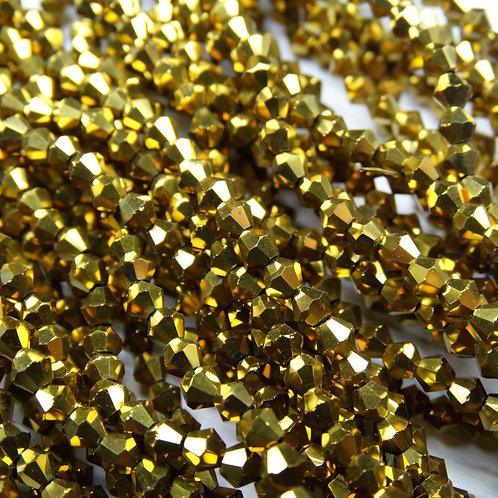 """ББЛ002НН4 Хрустальные бусины """"биконус"""", золото металлик, 4 мм"""