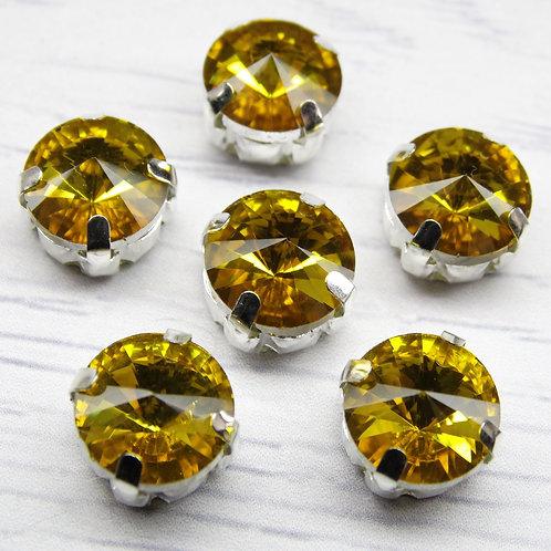 РЦ005НН10 Хрустальные стразы в цапах круглые, цвет: желтый, размер: 10 мм, 1 шт.