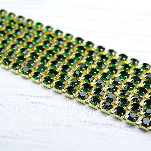 ЦС010ЗЦ2 Стразовые цепочки (золото), цвет: Изумруд, размер: 2 мм, 30 см/упак.