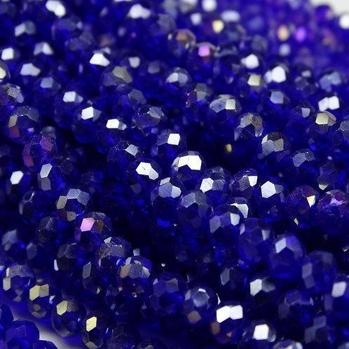 БП019ДС34 Хрустальные бусины, цвет: синий (с покрытием), размер: 3х4 мм.