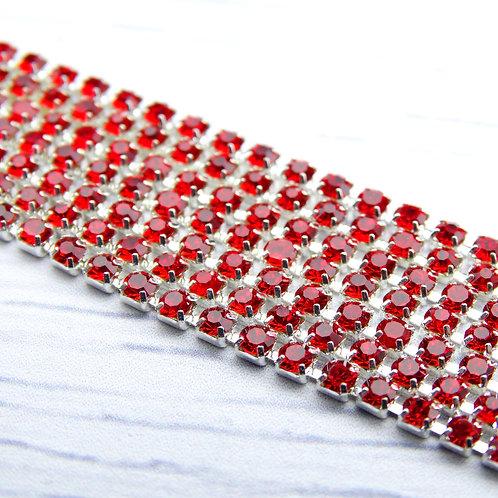 ЦС007СЦ2 Стразовые цепочки (серебро), цвет: Красный, размер: 2 мм, 30 см/упак.