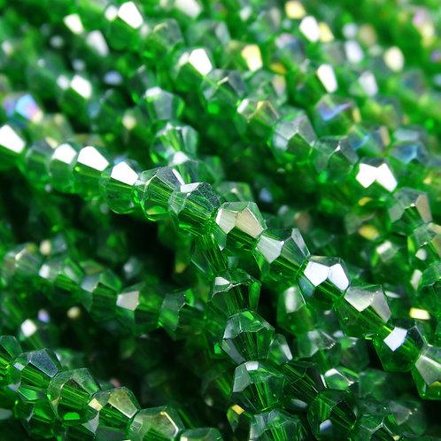 """ББ022ДС3 Хрустальные бусины """"биконус"""", темно-зеленый (с покрытием), 3 мм"""