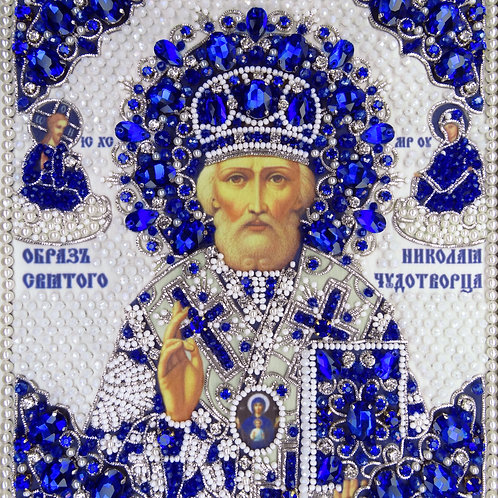 """Ткань с нанесенной авторской схемой Образ Святого Николая """"Чудотворца"""""""