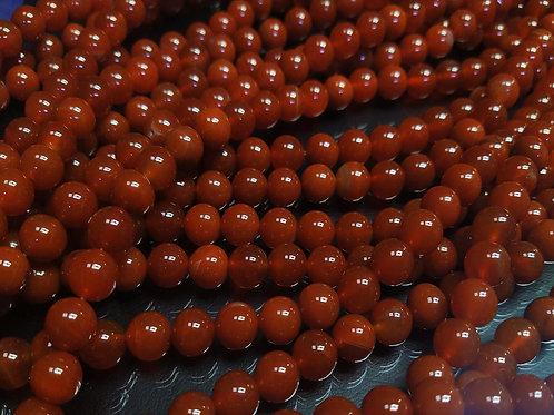 ПК014НН10 Бусины из природного камня агат (красный), размер: 10 мм, 1 шт.