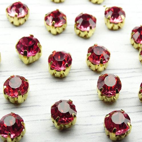 ЗЦ009НН88 Хрустальные стразы Розовые в металлических цапах (золото), 8х8мм.